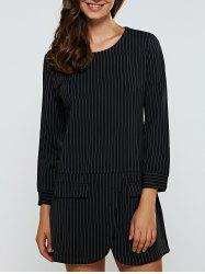 Striped Zipper Design Slimming Dress - BLACK