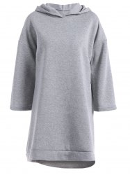 Loose Fitting High Low Fleece Hooded Dress