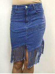 Pocket Design Fringed Slit Denim Skirt -