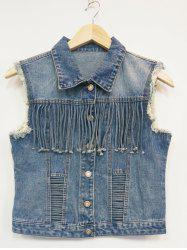Ripped Buttoned Fringed Vest