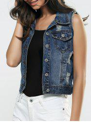 Ripped Buttoned Unedged Vest -
