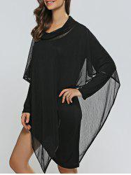 Asymmetical Skinny Dress + Cowl Neck Cape Dress Twinset