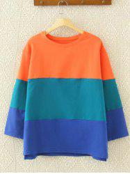 Drop Shoulder Color Block Sweatshirt - BLUE AND ORANGE