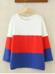 Drop Shoulder Color Block Sweatshirt - BLUE AND WHITE
