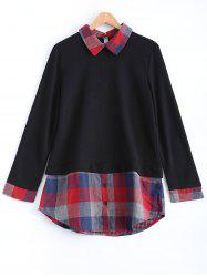 Plaid Long Sleeve A Line Sweater - BLACK