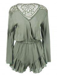Flounce V Neck Embroidery Romper -