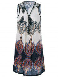 Zipper Design Tribe Print Dress