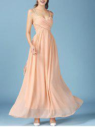 Noble Faux Wrap Ruched Spaghetti Strap Chiffon Maxi Dress