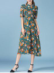 Retro Floral Print Half Sleeve Chiffon Dress -