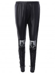 Slimming Lace Spliced Tied-Up Leather Pants - BLACK ONE SIZE
