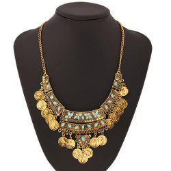 Faux Turquoise Coin Collier Fringe -