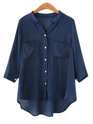 Plus Size Button Pockets Asymmetric Shirt -