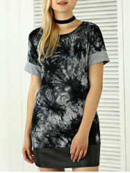Tie-Dyed Short Sleeve T-Shirt - BLACK AND GREY XL