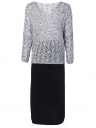 Heathered Openwork Knitwear and Tank Dress Twinset