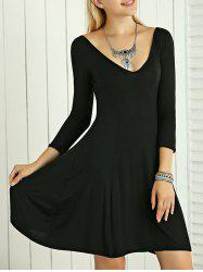 High Waist 3/4 Sleeves A- Line Dress