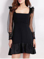 Square Neck Mesh Spliced Sheer Sleeve Flounced Club Dress