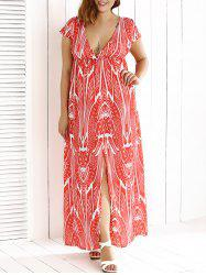 Plunging Slit Printed Maxi Dress -