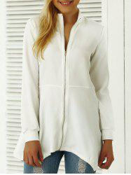 Asymmetric Zip Up Trench Coat - WHITE