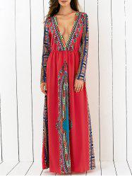 Plunging Printed Long Sleeve Maxi Dress -