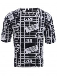 BoyNewYork Drop Shoulder Checked Letters Print T-Shirt - BLACK XL