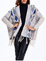 Open Front Print Cardigan -