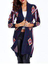 Collarless Print Long Cardigan -