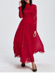 Lace Maxi Prom Dress with Long Sleeve - RED 2XL