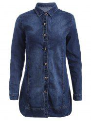 Long Sleeves Buttoned Denim Coat - DEEP BLUE XL