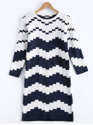 Chevron Mini Shift Sweater Dress - COLORMIX