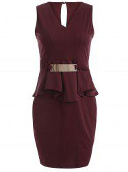 Sleeveless V Neck Bodycon Mini Dress - WINE RED
