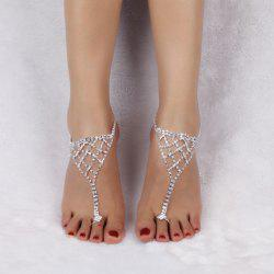 Triangle Tiered Rhinestone Toe Ring Anklet