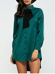 High Low Bow Neck Shirt Dress