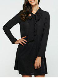 Long Sleeves Bowknot Chiffon Dress