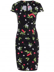 Cape Sleeve Sweetheart Neck Cherry Printed Sheath Dress