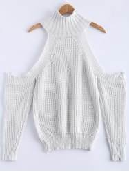 Cold Shoulde Knit Sweater - WHITE M