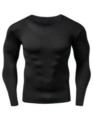Quick Dry Round Neck Plain Fitness T Shirt - BLACK