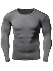 Quick Dry Round Neck Plain Fitness T Shirt - GRAY