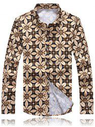 Palace Floral Printed Plus Size Turn-Down Collar Long Sleeve Shirt - COLORMIX 3XL