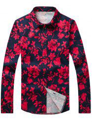 Flower Printed Plus Size Turn-Down Collar Long Sleeve Shirt -