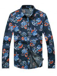 3D Flower Printed Plus Size Turn-Down Collar Long Sleeve Denim Shirt - DENIM BLUE 3XL