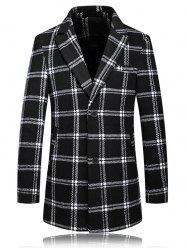 Checked Plus Size Turn-Down Collar Long Sleeve Single-Breasted Coat