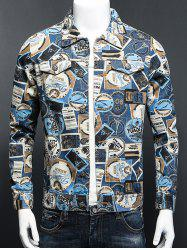 Stamp Print Plus Size Turn-Down Collar Long Sleeve Denim Jacket