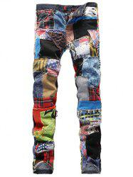 Minceur Rag Patch Spliced ​​Jeans - Multicolore