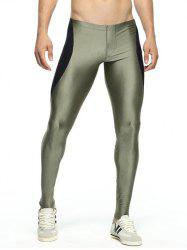 Skinny Color Spliced Elastic Waist Gym Pants - ARMY GREEN