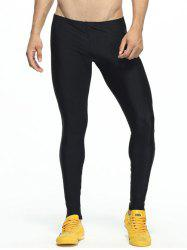 Paneled Skinny Elastic Waist Gym Pants - YELLOW