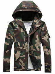 Hooded Long Sleeve Loose-Fitting Camouflage Jacket -