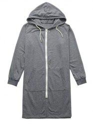 Slit Pocket Design Hoodie - GRAY