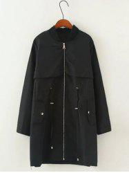 Drawstring Pocket Trench Coat - BLACK