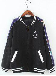 Textured Raglan Sleeves Letter Jacket -