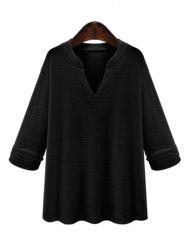 Plus Size V Neck Loose Blouse - BLACK 5XL